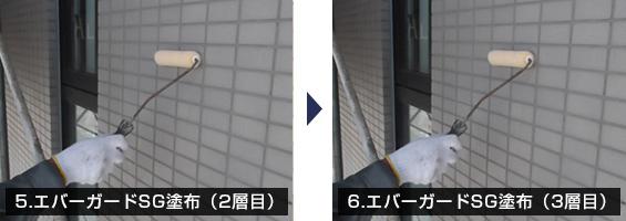 5.エバーガードSG塗布(2層目) 6.エバーガードSG塗布(3層目)